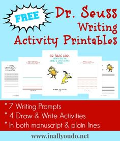 Seuss Writing Activities Printables - In All You Do - pinned by – Please Visit for all our pediatric therapy pins Dr Seuss Activities, First Grade Activities, Writing Activities, Sequencing Activities, Dr Seuss Week, Dr Suess, Read Across America Day, Kindergarten, Writing Prompts