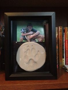 Paw Print Shadow Box - definately need to do this for Diezel! I Love Dogs, Puppy Love, Dog Shadow Box, Boxer And Baby, Puppies And Kitties, Animal Projects, Pet Memorials, Dog Life, Yorkie