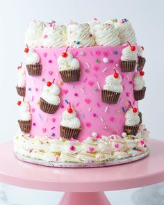 Wilton: This adorable cake by using candies to create little cups of ice cream would be a perfect birthday cake! Such a creative idea! Find more dessert ideas here: Wilton Cakes, Fondant Cakes, Cupcake Cakes, Fondant Rose, Fondant Baby, 3d Cakes, Fondant Flowers, Fondant Figures, Sweets