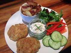 Homemade fish cakes, Slimming World chips and homemade Slimming World tartar sauce. Yum!