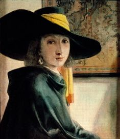 (Dutch) Girl in an Antique Costume by Johannes Vermeer. We have not seen this painting before as a Vermeer work? Johannes Vermeer, Rembrandt, Delft, Vermeer Paintings, Oil Paintings, Baroque Painting, Dutch Golden Age, Dutch Painters, Dutch Artists