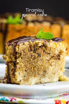 Buttery and tender, Tiramisu Pound Cake Recipe is a pound cake flavored with espresso and rum. It's a twist on two classic recipes, but even more delicious. #poundcake #cake #poundcakepaula #dessert #recipe #tiramisu #coffee #Kahlua