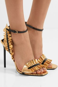 Saint Laurent - Edie Ruffled Metallic Snake-effect Leather Sandals - Gold - IT