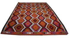 Colorful Handmade Kilim Rug Vintage Handwoven by AreaRugsKilims