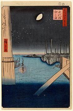 """""""Tsukudajima y el puente Eitaibashi"""" (1857). De la serie Cien famosas vistas de Edo. Utagawa Hiroshige."""