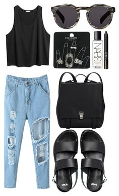 """Get Ready for Jurassic World"" by eva-jez ❤ liked on Polyvore featuring Topshop, ASOS, Illesteva, NARS Cosmetics, Proenza Schouler and jurassicworld"