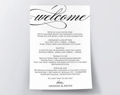 Wedding Itinerary Printable Itinerary Wedding by AModernSoiree