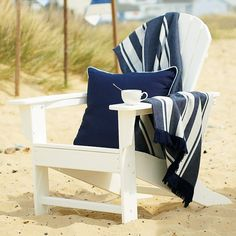 Yes, I could imagine myself in this chair sipping tea! Grandmas Dreams ~ just relax Beach Cottage Decor, Cottage Chic, Maine Cottage, Coastal Cottage, Coastal Decor, Adirondack Chairs, Outdoor Chairs, Outdoor Furniture, I Love The Beach