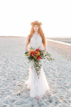 Beach boho bridal look