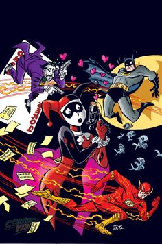 Harley Quinn #14 - The Flash variant cover by Bruce Timm *