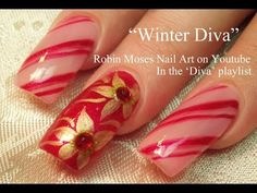 Easy Christmas Nails | Diva Candy Stripe Nail Art with Gold Poinsettias! - YouTube