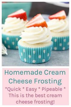 cream cheese frosting This Cream Cheese Frosting recipe is quick and easy and its the perfect cupcake frosting because it holds its shape nicely for piping. Frost Cupcakes, Frosting Recipes, Dessert Recipes, Desserts, Cupcake Filling Recipes, Food Cakes, Cupcake Cakes, Best Frosting For Cupcakes, Best Cupcake Frosting Recipe For Piping