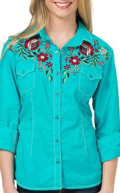 Panhandle Women's Turquoise with Multi Floral Embroidery Long Sleeve Western Shirt   Cavender's