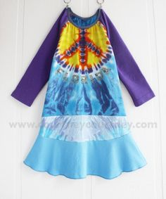peace baby #courtneycourtney #eco #upcycled #recycled #repurposed #tshirt #vintage #dress #girls #unique #clothing #ooak #designer #upscale #peacesign #tiedye