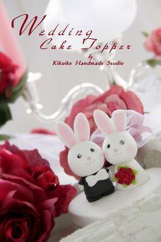 LOVE ANGELS Wedding Cake Topperlove rabbit and bunny by kikuike, $130.00