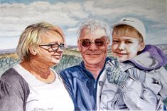 Family portrait. Watercolor painting on paper 30x40 cm, 250 g. For a friend of mine :)