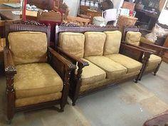 Vintage Jacobean Style Lounge Suite Arm Chairs Retro