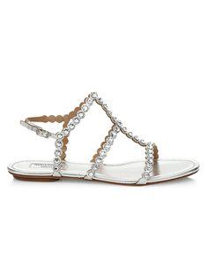 Aquazzura Tequila Crystal-Embellished Metallic Leather Flat Sandals | SaksFifthAvenue Leather Sandals Flat, Suede Sandals, Suede Pumps, Flat Sandals, Flats, Palm Beach Sandals, Aquazzura, Metallic Leather, Open Toe