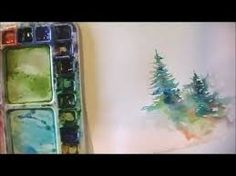 simple watercolor painting for trees - Google Search