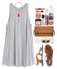 """""""rain makes corn, corn makes whiskey, whiskey makes my baby, feel a lil bit frisky """" by mads-thompson ❤ liked on Polyvore featuring H&M, Steve Madden, Kendra Scott, Tory Burch, Fornash, Kate Spade, NARS Cosmetics, MAC Cosmetics, tarte and Maybelline"""