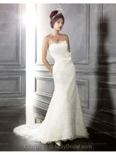 Trumpet/Mermaid Strapless Lace Chapel Train Wedding Dress at Millybridal.com