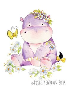 Your place to buy and sell all things handmade Ginny the Hippo - Hippo Giclee Print, Original Artwork, Children's illustration, Nursery Wall Art Baby Animals, Cute Animals, Wild Animals, Art Mignon, Image Deco, Baby Art, Nursery Wall Art, Nursery Decor, Wall Decor