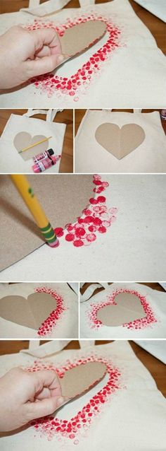 These with an embroidered Amore or love over it. also a good idea for decorating apron fronts.