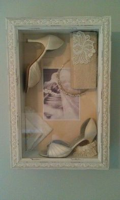 shadow box with wedding shoes, tiara, and wedding picture. I like this one to replicate with my keepsakes! #weddingshoes
