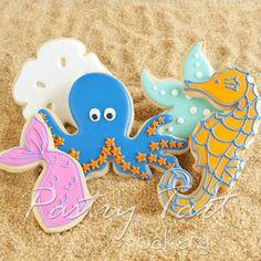 Under the Sea Cookies~ Mermaid Birthday Party Cookie Set pink Mermaid Tail - blue Octopus - yellow Seahorse - green Starfish - white Sand Dollar, by party tart bakery Galletas Cookies, Iced Cookies, Cute Cookies, Cookies Et Biscuits, Fish Cookies, Mermaid Cookies, Sweet Cookies, Birthday Favors Girls, Mermaid Birthday