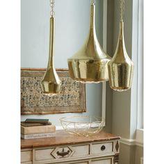 Large Gold Hammered Pendant Light