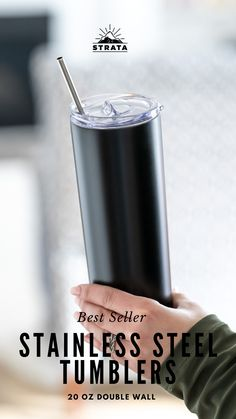SHOP NOW | COLD DRINKS STAY COLD! And warm drinks stay warm! Get your Strata Cups 20oz Stainless Steel Skinny Tumbler now! BLACK Matte Reusable Cup With Straw Diy Tumblers, Plastic Tumblers, Personalized Tumblers, Tumblers With Lids, Insulated Tumblers, Custom Tumblers, Stainless Steel Straws, Black Stainless Steel, Reusable Cup