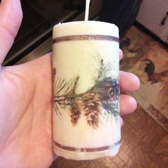 Light Beige Pine Cone Embellished Soy Pillar Candles by BoerBarn on Etsy