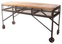 Tribeca Industrial Mesh Drawer Caster Wheel Desk Console Table - transitional - Console Tables - Kathy Kuo Home