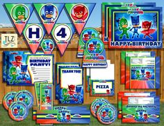 PJ Masks Birthday Package  Printable Digital Files by TLZDesigns
