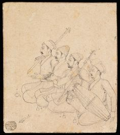 """""""Four Musicians"""" India, Mughal; beginning of century Leaf: × cm Part of life at court was musical entertainment. This Mughal drawing provides a beautiful and precise portrayal of an ensemble in the process of plying their trade. Pichwai Paintings, Mughal Paintings, Islamic Paintings, Watercolor Paintings Abstract, Sketch Painting, Indian Paintings, Painting Tips, Indian Traditional Paintings, Music Painting"""
