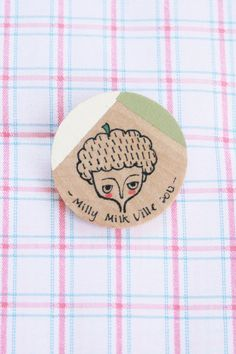 Wooden Brooch Round  Hand Painted Illustration  by MillyMilkVille, $4.40
