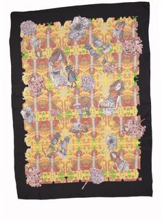 Young British Designers - Yellow Iris Silk Scarf by David Longshaw / Accessories / Scarves