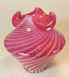 Fenton's Cranberry Cased Glass Swirl Ruffled Vase, 1950s offered by Ruby Lane Shop, Sherer Heaven. #Fenton