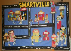 "Our Community Art: could be used for teaching students different places and community helpers that can be found in their community. Would name city ""Smithville"" or ""Finnville"" after teachers. Community Helpers Kindergarten, Community Activities, School Community, Community Art, Community Building, Preschool Social Studies, Preschool Art, Kindergarten Activities, Activities For Kids"
