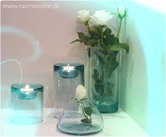 Serie Blush aus transparentem, recycelten Glas: Teelicht und Vasen in mehreren Grössen.
