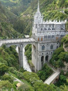 Las Lajas Cathedral - Colombia It's actually bridge and cathedral in one. The architecture of this cathedral built from 1916 to Beautiful Castles, Beautiful Buildings, Beautiful World, Beautiful Places, Wonderful Places, Places Around The World, The Places Youll Go, Places To See, Around The Worlds
