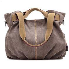 TAILUN Women's Ladies Casual Canvas Daily Purse Hobo Shoulder Bag (Brown). Visit website to read more description.