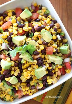 SW Black Bean Salad - •15.5 oz can rinsed & drained black beans•9 oz cooked corn, frozen•1 chopped tomato•1/3 C chopped red onion•1 chopped scallion•1 1/2 - 2 juice of limes•1 T EVOO•2 T cilantro •salt & pepper•1 diced avocado:  Mix beans, corn, tomato, onion, scallion, cilantro, salt & pepper. Squeeze fresh lime juice to taste & stir in EVOO. Chill-30 minutes. Add avocado.