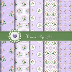 Shabby Chic Roses - Printable Papers - Scrapbooking - Patterns - DIY - Violet