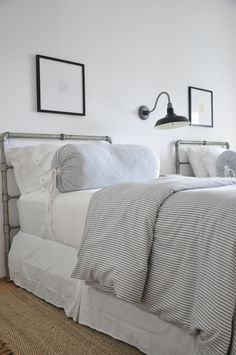 Great Coastal Inspired Bedroom, Twin Beds, Ticking Stripe Bedding Coastal  Bedrooms, Guest Bedrooms