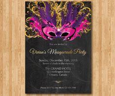 Birthday Invitation Masquerade Party. Mardi Gras by arthomer