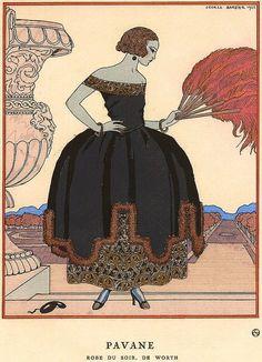 «Pavane, robe du soir de Worth», by George Barbier, 1921.