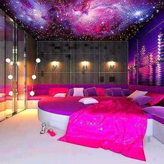The bedroom is a girls best friend with pink and purple  P.S. in the back round that is an lava wall so it glows in the dark AMAZING