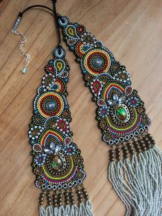 Bead Embroidery Necklace with Seed Beads on Black Leather, Statement Necklace, Beadwork Necklace