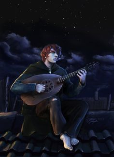This is a piece of Fan art I created for my Uni project on my two favorite books to date, The King Killer Chronicles series by Patrick Rothfuss. Kvothe The Bard - Rooftops over Anker's Fantasy Books, Fantasy Artwork, Fantasy Characters, Story Inspiration, Character Inspiration, Character Art, Character Sketches, Gorillaz, The Wise Man's Fear